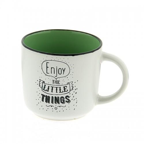 Κούπα Enjoy The Little Things 420ml (Άσπρο - Βεραμάν)