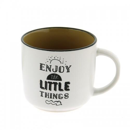 Κούπα Enjoy The Little Things 420ml (Άσπρο-Κάμελ)