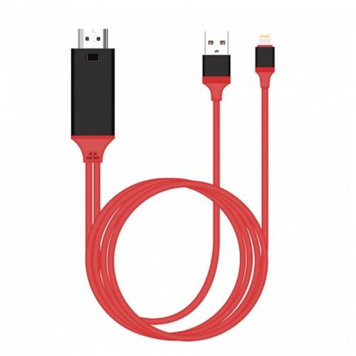 Καλώδιο Earldom ET-W5 HDMI -Lightning / USB Plug And Play 2m (Κόκκινο)