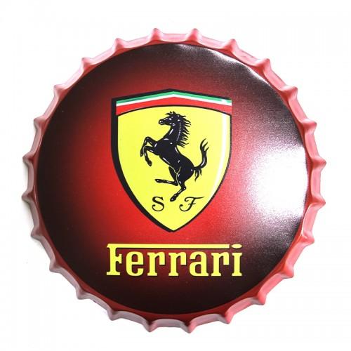 Μεταλλικό Διακοσμητικό Τοίχου Καπάκι Ferrari Logo Red 34,5x35x4 cm (Design)