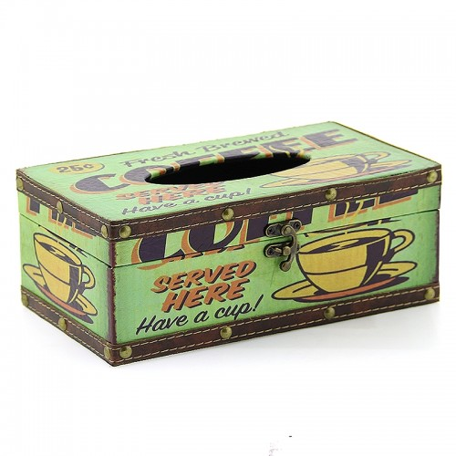 Ξύλινο Κουτί για Χαρτομάντηλα Fresh Brewed Coffee (Design)