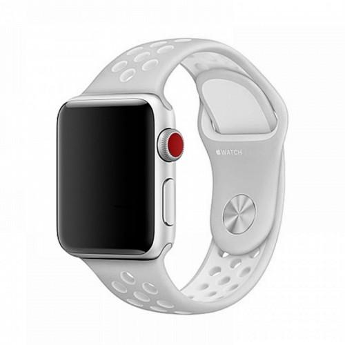 Ανταλλακτικό Λουράκι OEM Softband για Apple Watch 38/40mm (Γκρι-Άσπρο)
