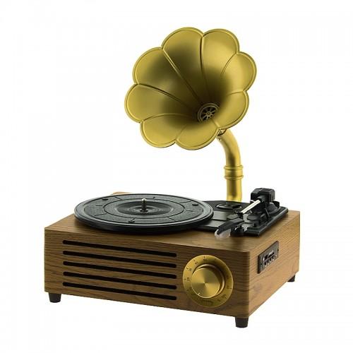 Vintage Bluetooth Γραμμόφωνο HY-TT05L Τριών Ταχυτήτων 5W (Καφέ)