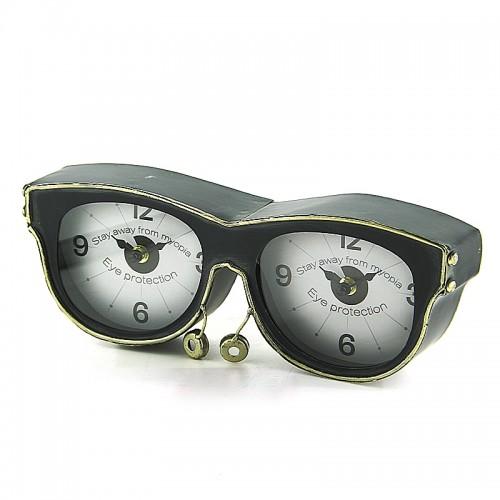Μεταλλικό Διακοσμητικό Επιτραπέζιο Ρολόι σε Σχήμα Γυαλιά (Μαύρο)