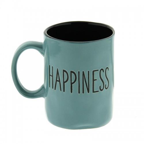 Κούπα Happiness 450ml (Πετρόλ - Μαύρο)