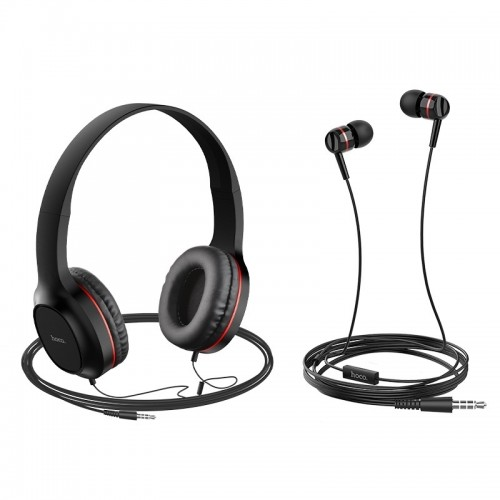 Σετ ακουστικών Hoco W24 (Headphones και Earphones) (Μαύρο - Κόκκινο)