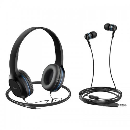 Σετ ακουστικών Hoco W24 (Headphones και Earphones) (Μαύρο-Μπλε)