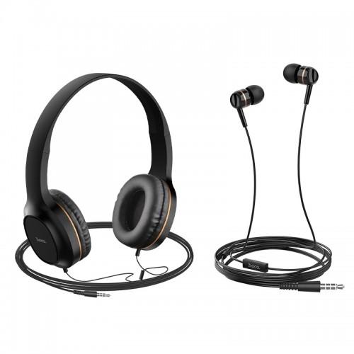 Σετ ακουστικών Hoco W24 (Headphones και Earphones) (Μαύρο - Χρυσό)