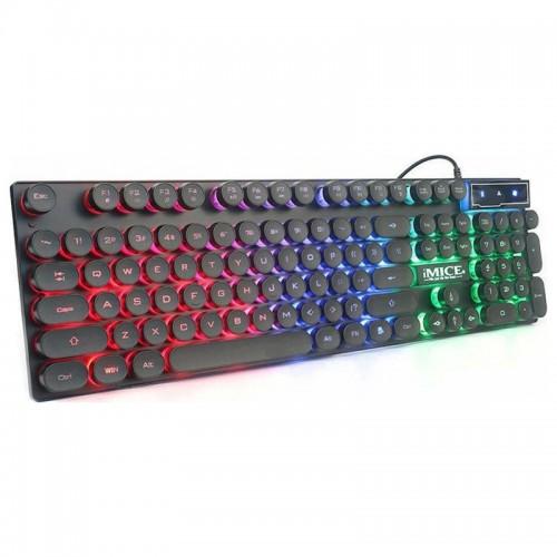 Ενσύρματο Πληκτρολόγιο iMice AK-800 με LED Φωτισμό Τριών Χρωμάτων (Μαύρο)