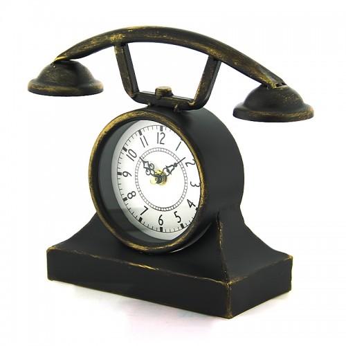 Μεταλλικό Διακοσμητικό Ρολόι σε Σχήμα Τηλέφωνο Αντίκα (Μαύρο)
