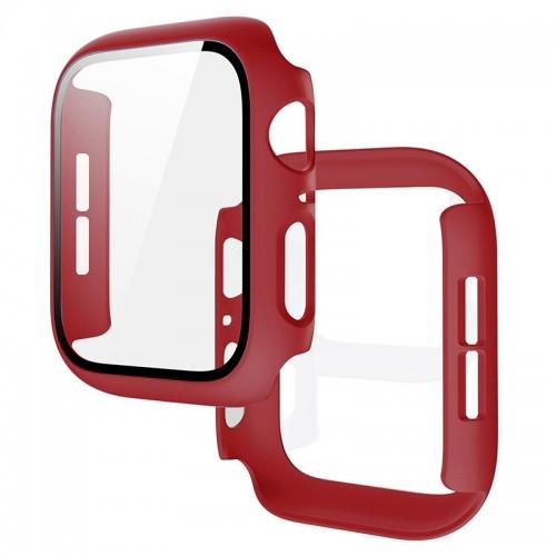 Θήκη Προστασίας με Tempered Glass για Apple Watch 44mm (Κόκκινο)