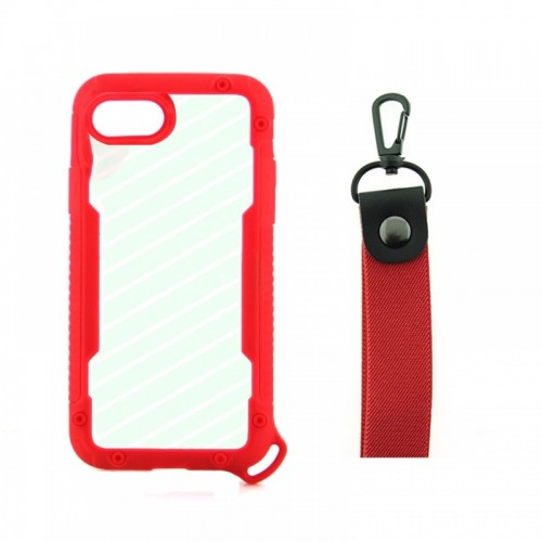 Θήκη OEM Bumper Back Cover με Λουράκι Χειρός για iPhone 7/8 Plus (Κόκκινο)