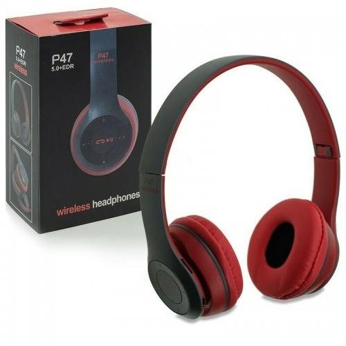 Ασύρματα Αναδιπλώμενα Ακουστικά P47 (Μαύρο - Κόκκινο)