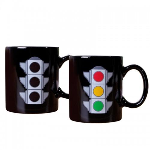 Κούπα με Εναλλαγή Σχεδίων Ανάλογα με την Θερμοκρασία Traffic Light (Μαύρο)