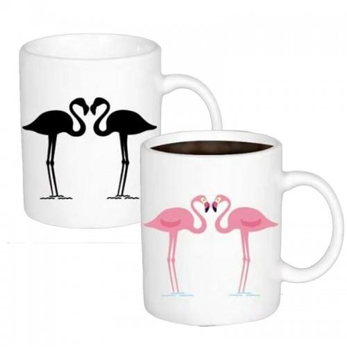 Κούπα με Εναλλαγή Σχεδίων Ανάλογα με την Θερμοκρασία με 2 Flamingo (Άσπρο)