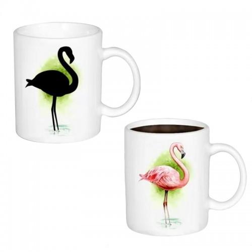 Κούπα με Εναλλαγή Σχεδίων Ανάλογα με την Θερμοκρασία Flamingo (Άσπρο)