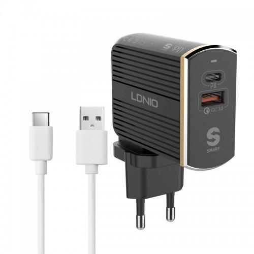 Φορτιστής Ταξιδιού LDNIO A2502C USB+Type-C PD & Καλώδιο Type-C (Μαύρο)