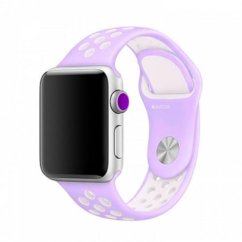 Ανταλλακτικό Λουράκι OEM Softband για Apple Watch 38/40mm (Λιλά-Άσπρο)