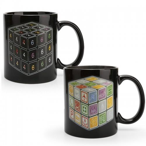 Κούπα με Εναλλαγή Σχεδίων Ανάλογα με την Θερμοκρασία Rubik Cube (Μαύρο)