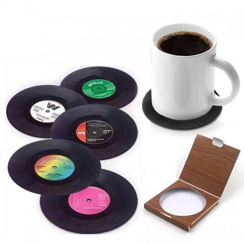 Retro Vinyl Σουβέρ (σετ 6 τεμαχίων)