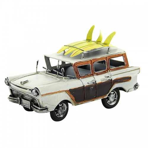 Διακοσμητικό Μεταλλικό Αυτοκίνητο Εποχής με Τρεις Σανίδες Surf (Άσπρο)