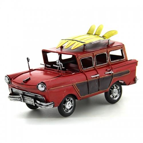 Διακοσμητικό Μεταλλικό Αυτοκίνητο Εποχής με Τρεις Σανίδες Surf (Κόκκινο)