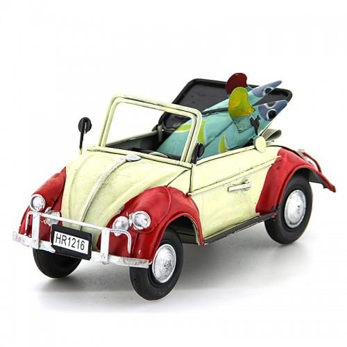 Μεταλλικό Διακοσμητικό Αυτοκίνητο Εποχής - Κάμπριο Σκαραβαίος με Δύο Σανίδες Surf (Άσπρο)