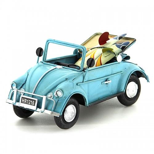 Μεταλλικό Διακοσμητικό Αυτοκίνητο Εποχής - Κάμπριο Σκαραβαίος με Δύο Σανίδες Surf (Γαλαζιο)