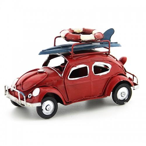 Διακοσμητικό Μεταλλικό Αυτοκίνητο Εποχής - Σκαραβαίος με Σανίδα Surf και Σωσίβιο (Κόκκινο)
