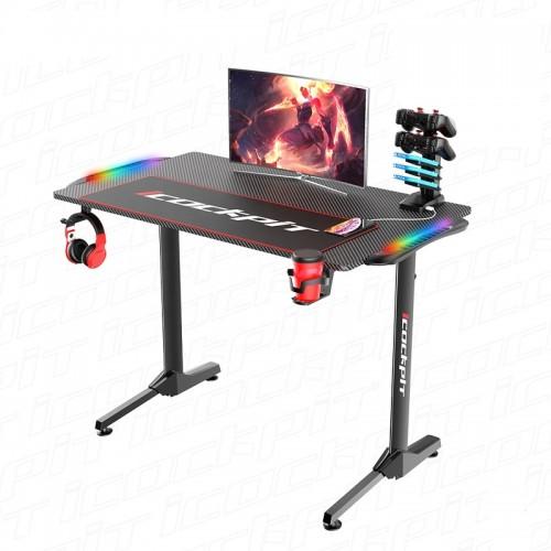 Gaming Desk NE-1160 With Headphone hook & Cup holder & RGB Light 111x60x75cm (Black)