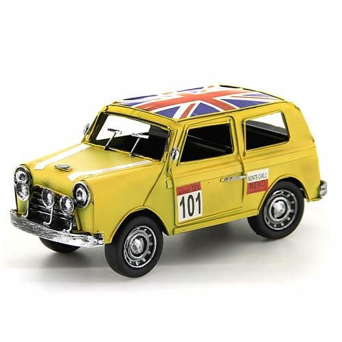 Vintage Διακοσμητικό Μεταλλικό Αυτοκίνητο με Βρετανική Σημαία (Κίτρινο)