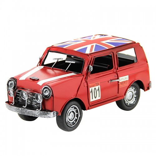 Vintage Διακοσμητικό Μεταλλικό Αυτοκίνητο με Βρετανική Σημαία (Κόκκινο)