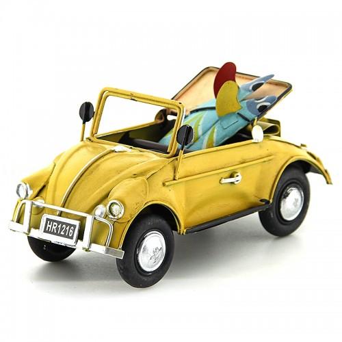 Μεταλλικό Διακοσμητικό Αυτοκίνητο Εποχής - Κάμπριο Σκαραβαίος με Δύο Σανίδες Surf (Κίτρινο)