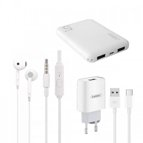 Σετ Earldom 2020 με Power Bank 5000mAh + Φορτιστής ES-197 με Καλώδιο Type-C + Ακουστικά 3.5mm Jack (Άσπρο)