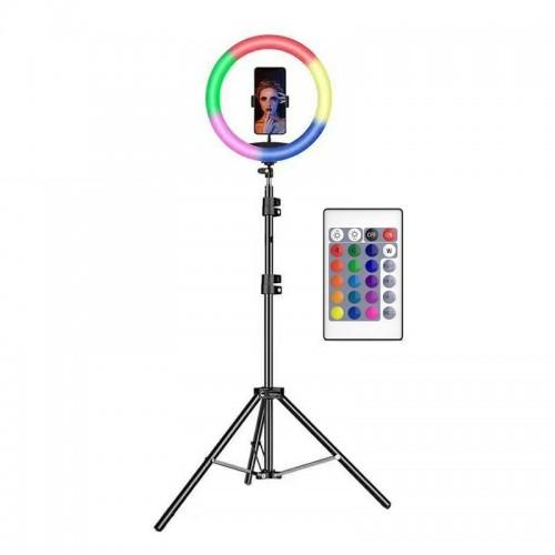 Mega Led Ring Light 26cm με Εναλλαγή Χρωμάτων και Τρίποδο (Μαύρο)