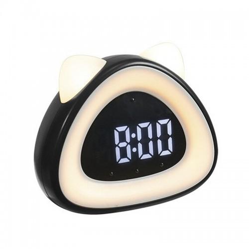 Ρολόι Ξυπνητήρι LED σε Σχήμα Γάτας (Μαύρο)