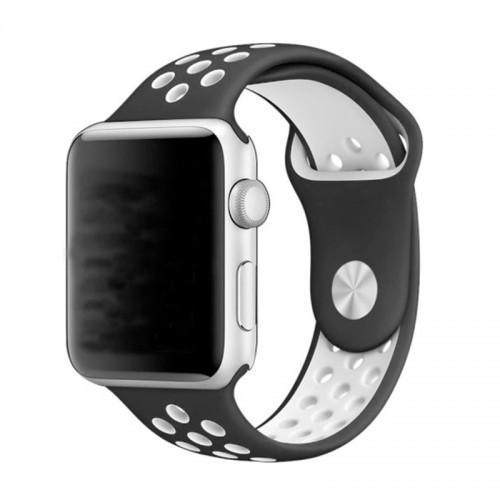 Ανταλλακτικό Λουράκι OEM Softband για Apple Watch 38/40mm (Μαύρο-Άσπρο)