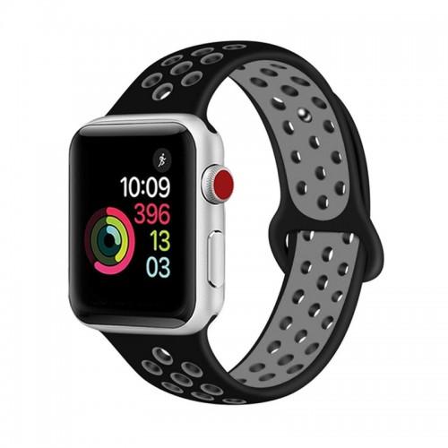 Ανταλλακτικό Λουράκι OEM Softband για Apple Watch 38/40mm (Μαύρο-Γκρι)