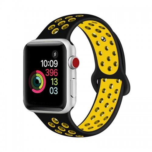 Ανταλλακτικό Λουράκι OEM Softband για Apple Watch 38/40mm (Μαύρο-Κίτρινο)