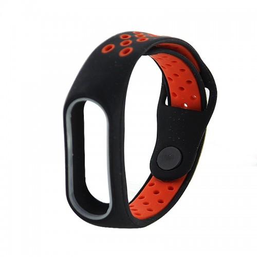 Ανταλλακτικό Λουράκι OEM Softband Sport με Techonto Strap για Xiaomi Mi Band 3/4 (Μαύρο - Κόκκινο)