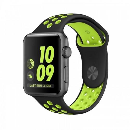 Ανταλλακτικό Λουράκι OEM Softband για Apple Watch 38/40mm (Μαύρο-Λαχανί )