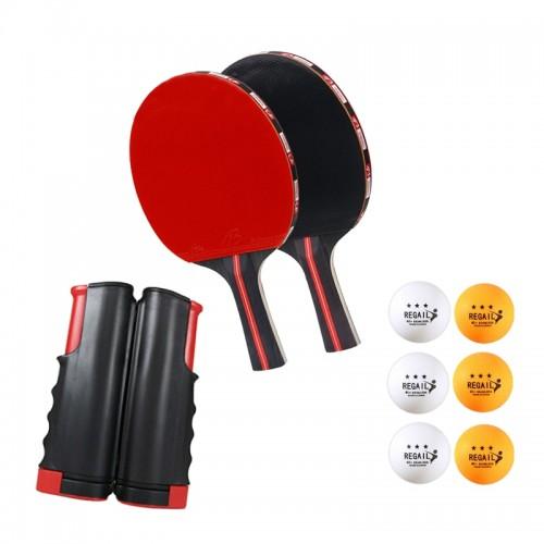 Φορητό Σετ Ping Pong Regail σε Σακίδιο με 2 Mirror Rubber Ρακέτες, 6 Μπαλάκια και Ρυθμιζόμενο Δίχτυ (Design)
