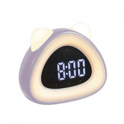 Ρολόι Ξυπνητήρι LED σε Σχήμα Γάτας (Μωβ)
