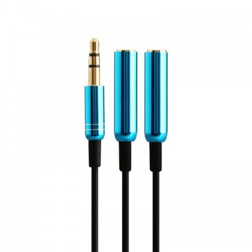 Καλώδιο Earldom AUX 3.5mm Male to 2x Female 40cm ET-AUX01 (Μπλε)