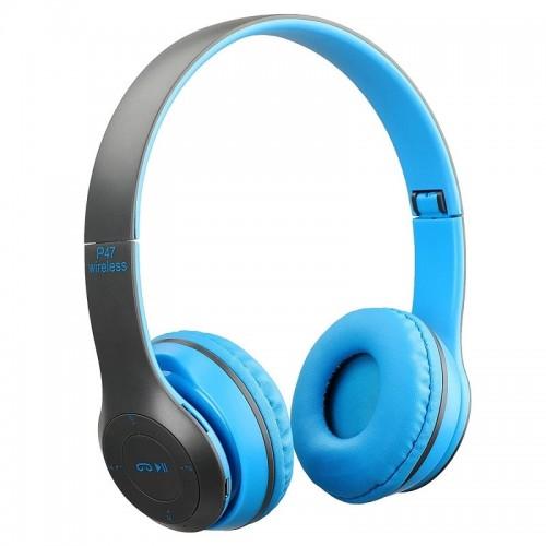 Ασύρματα Αναδιπλώμενα Ακουστικά P47 (Μαύρο-Μπλε)