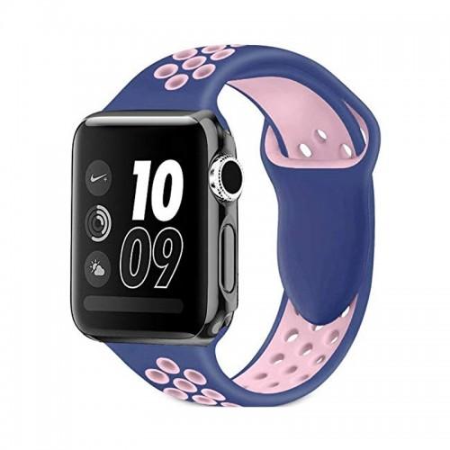 Ανταλλακτικό Λουράκι OEM Softband για Apple Watch 38/40mm (Μπλε-Ροζ)