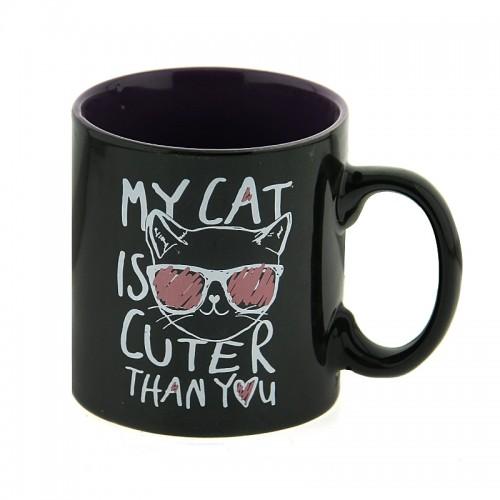 Κούπα My Cat is Cuter Than You 340ml (Μαύρο-Μωβ)