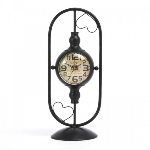 Μεταλλικό Διακοσμητικό Ρολόι Hotel de l'Opera με Δύο Καρδιές (Μαύρο)