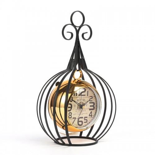Μεταλλικό Διακοσμητικό Κρεμαστό Ρολόι με Πλαίσιο Hotel de l'Opera (Μαύρο - Χρυσό)