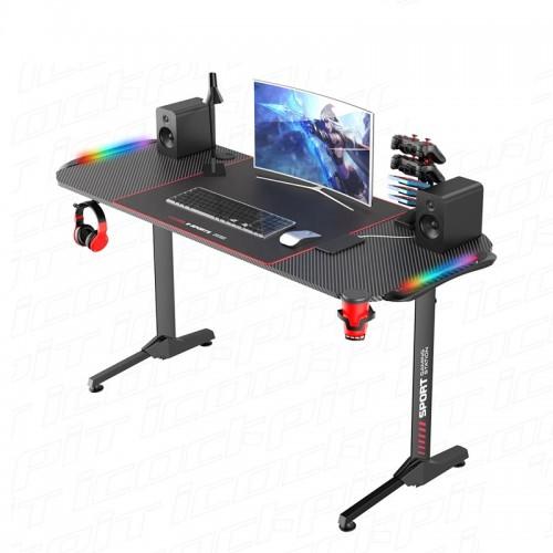Gaming Desk NE-1460 With Headphone hook & Cup holder & RGB Light 140x60x75cm (Black)